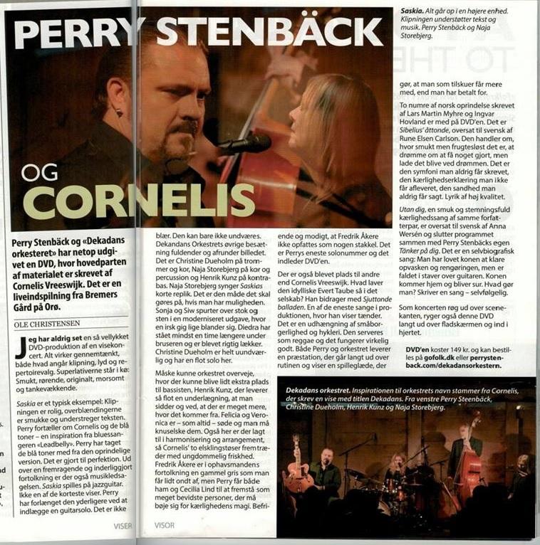 2015-03 Perry Stenbäck och Dekadansorkestern, anmeldelse i Visor